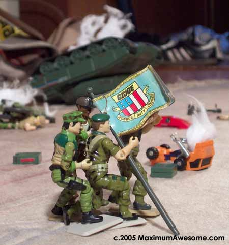 G.I. Joe raises the flag