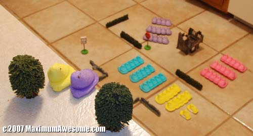 army of peeps war on the floor
