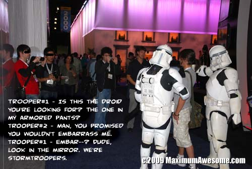 Fanboys were out in full force, photographing every booth babe and costumed character in sight.