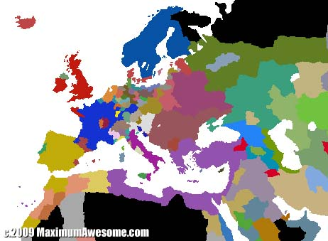 Europe circa early 16th century. My Byzantine Empire is purple.