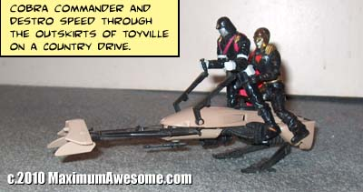 Cobra Commander and Destro on a country drive in Toyville
