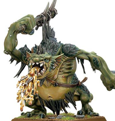 A puking river troll by Games Workshop for their Warhammer line.