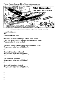 Pilot Simulator: The Text Adventure (from Flight by Dave McAwesome)