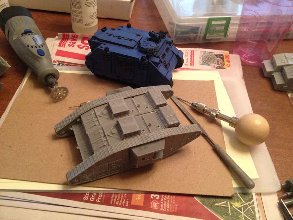 Here, I've dry fit two Mk V main bodies (no weapons or bitz) and placed it next to a bog standard Rhino Mk IIc.
